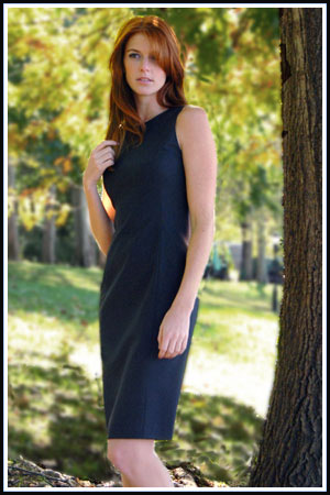 Bluesuits Tropical Wool Charcoal Sleeveless Shift Dress