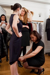 Molly Kennedy from Columbia Business School Class of 2011 getting fitted for a shift dress