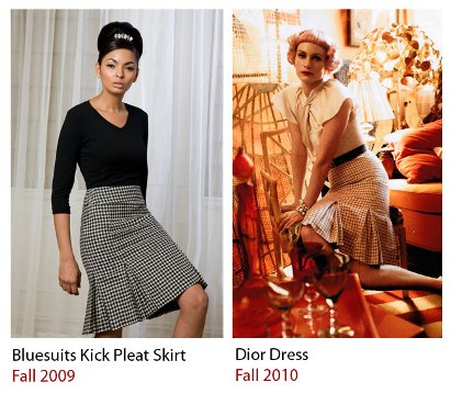 Bluesuits original design kick pleat skirt from Fall 2009 and Dior's dress Fall 2010