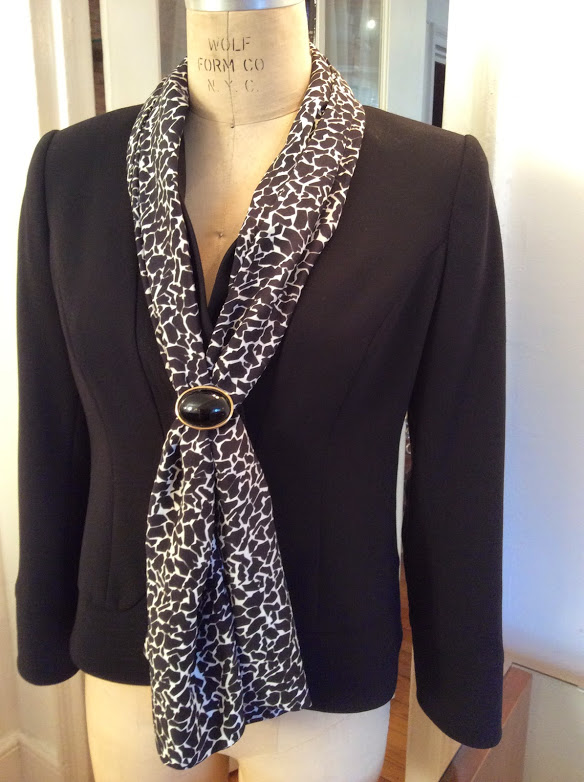Bluesuits Darlene Jacket with Black and White Silk Scarf