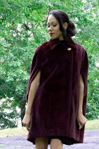 Bluesuits Burgandy Faux Fur Double Breasted Cape Coat with Butterfly Button