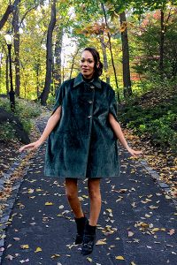 Bluesuits Green Faux Fur Double Breasted Cape Coat with Butterfly Buttons